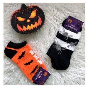 2 Pair Orange Black Halloween Low Cut Socks NIP
